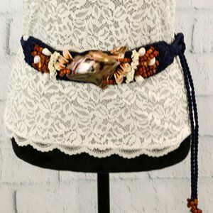 Vintage 80s Seashell and Braided Rope Belt